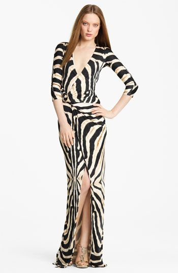 Roberto Cavalli Zebra Print Jersey Gown available at #Nordstrom
