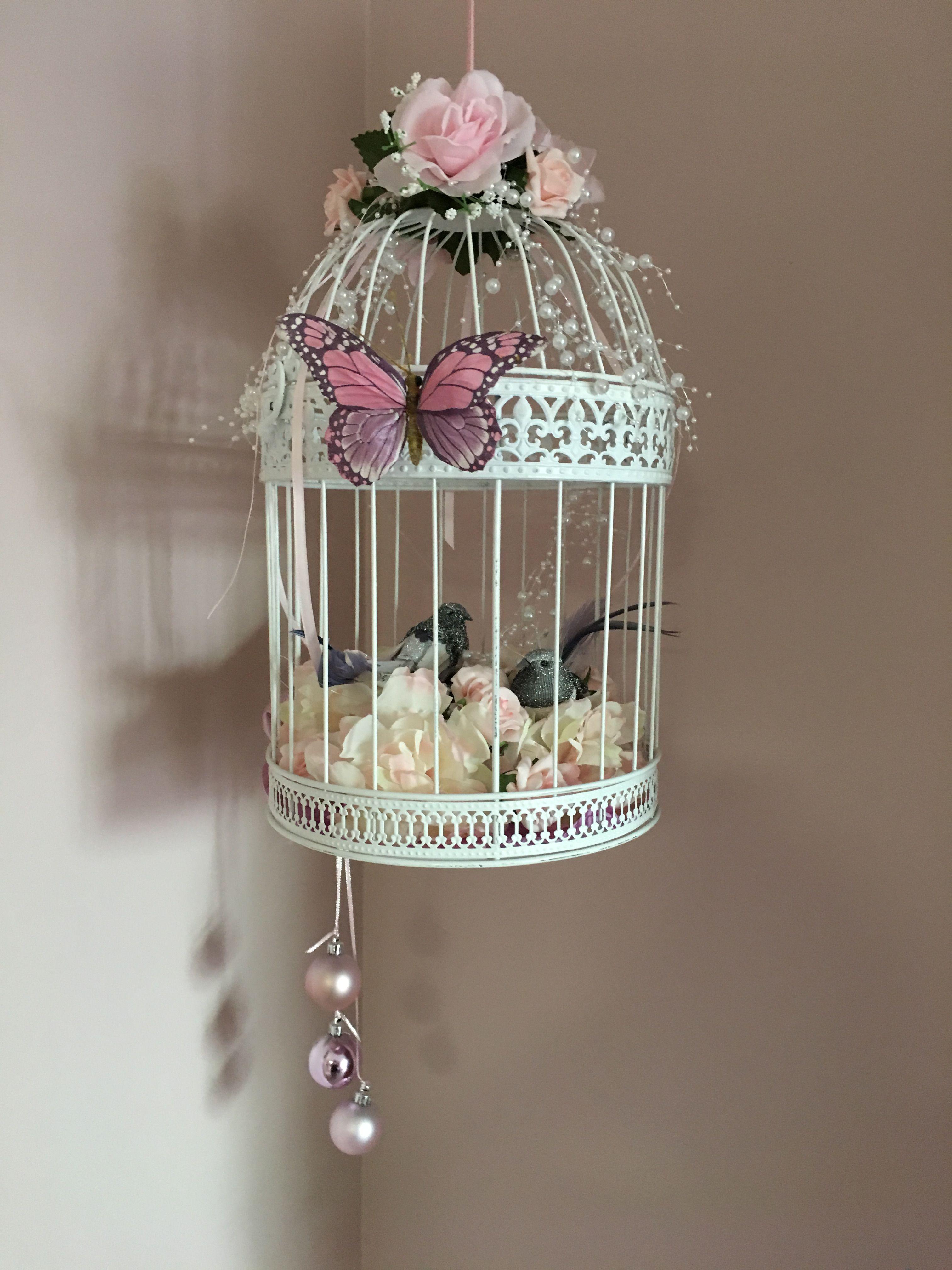 My decorated Bird Cage!  Bird cage centerpiece, Bird cage decor