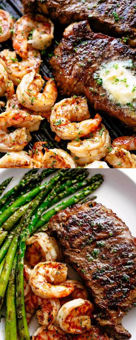 Best Garlic Butter Grilled Steak & Shrimp Recipe - SundayRecipes #grilledshrimp