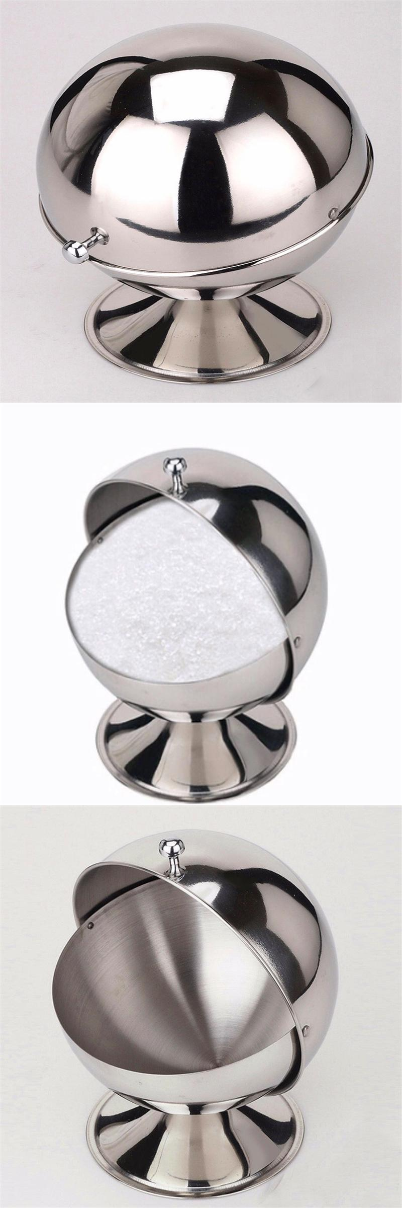 [Visit To Buy] Sugar Bowl Spherical Stainless Steel Kitchen Spice Bottle  Flip Cup Sugar