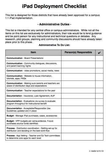 iPad deployment checklist