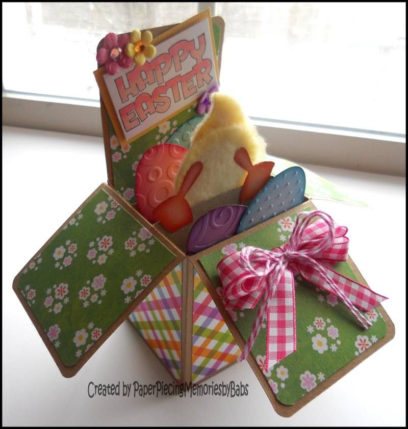 Easter Popup Box Card created by Paper Piecing Memories by Babs – Boxed Easter Cards