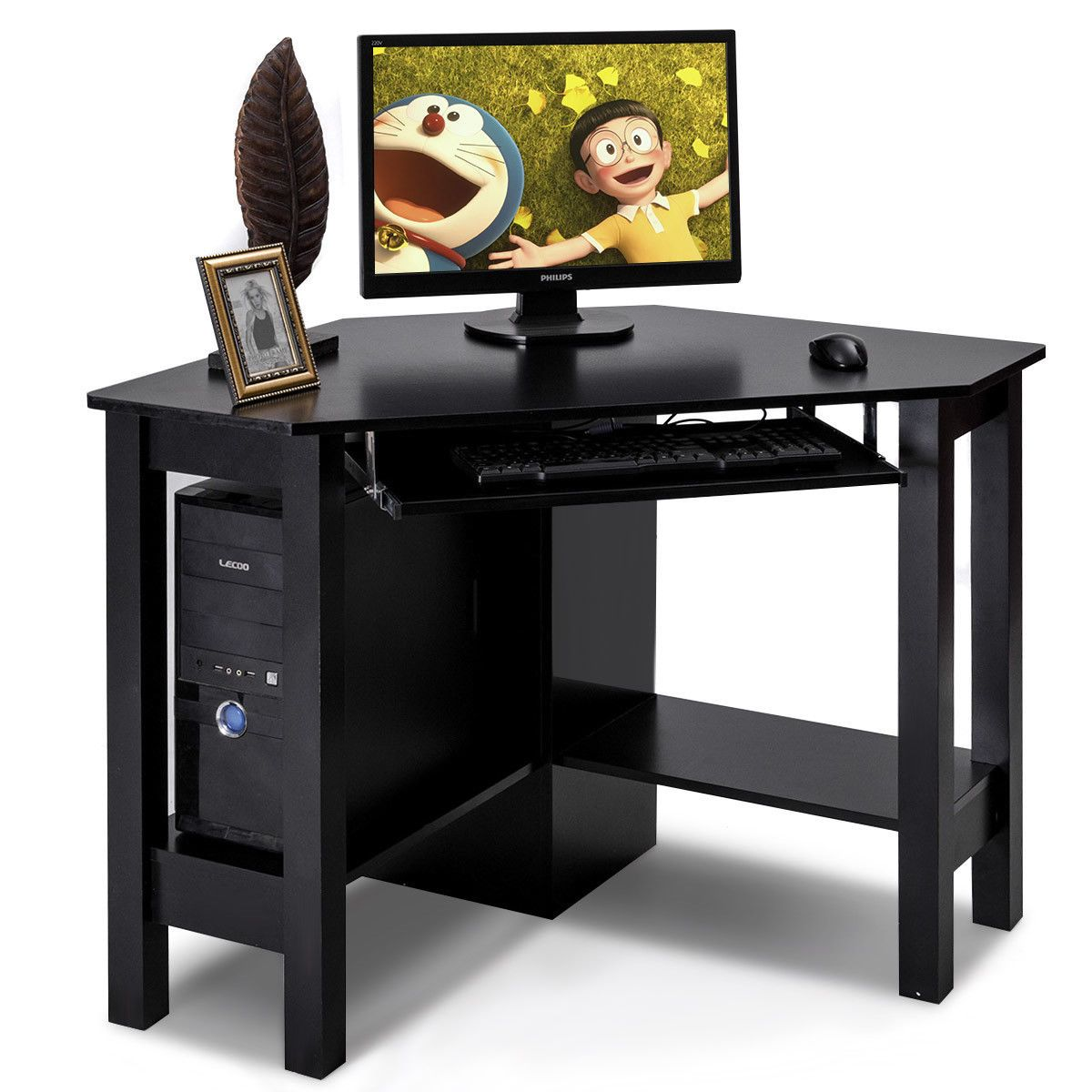 Costway Wooden Corner Desk With Drawer Computer PC Table Study