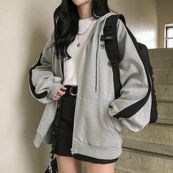 Sweatshirt Jackets Splicing Oversize Patchwork Tracksuit Hoodies – dress