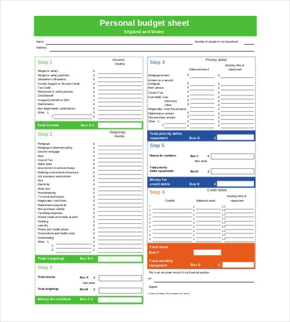 personal budget sheet North Somerset Council , Personal Budget - expense sheet template