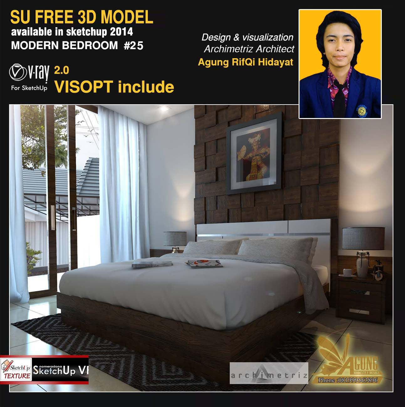 Free sketchup model modern bedroom 25 vray