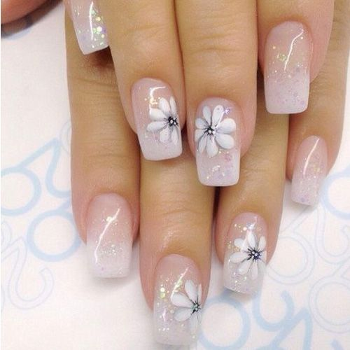 Elegant pretty white nails with flower design white nails elegant pretty white nails with flower design prinsesfo Images