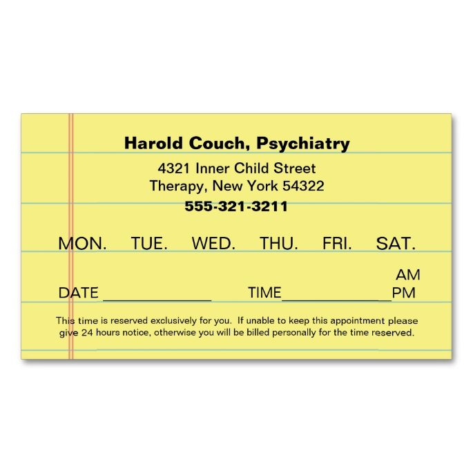 Doctor S Office Scheduled Appointment Reminder Zazzle Com Appointment Cards Psychologist Business Card Dental Business Cards