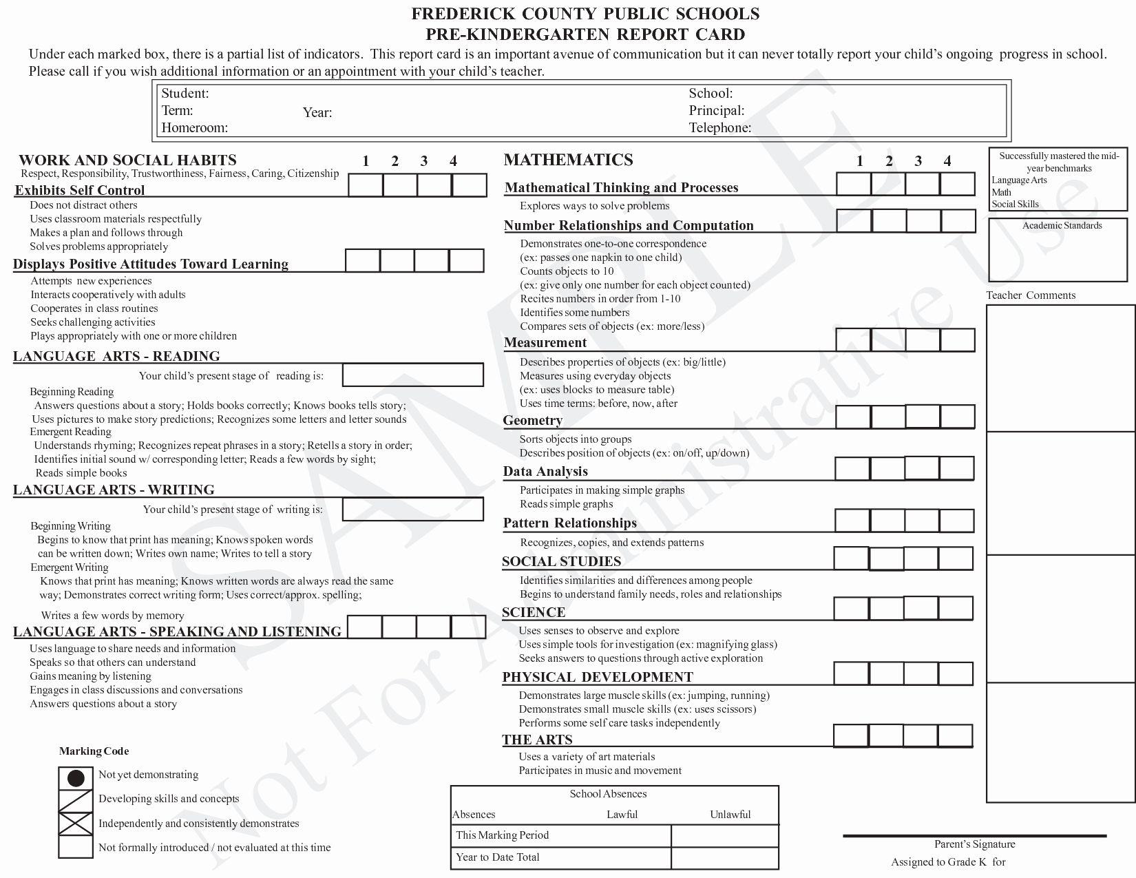 Kindergarten Report Card Template Elegant Kindergarten Report Card Template Grade Card Report Card Template Kindergarten Report Cards Report Card
