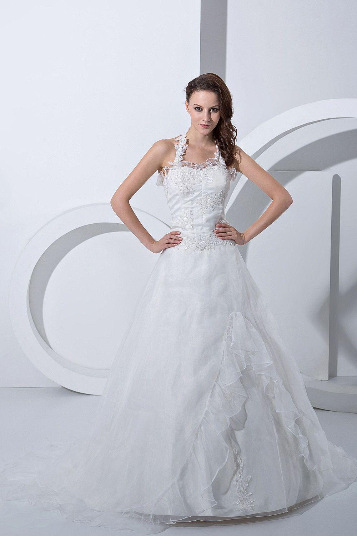Aline white organza chapel train halter wedding dress wedding