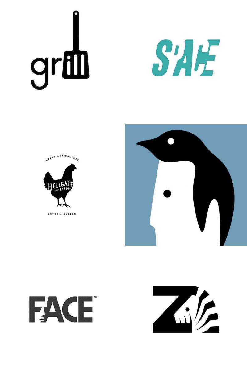 Negative space logos for kiwi designers inspiration logo