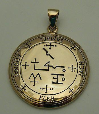 Archangel Samael Talisman Gold Tone Bronze Sigil Of Samael Angelic Pendant