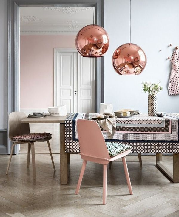 Pink Blush And Copper Dining Room Decorating Ideas 2016 With Pantone