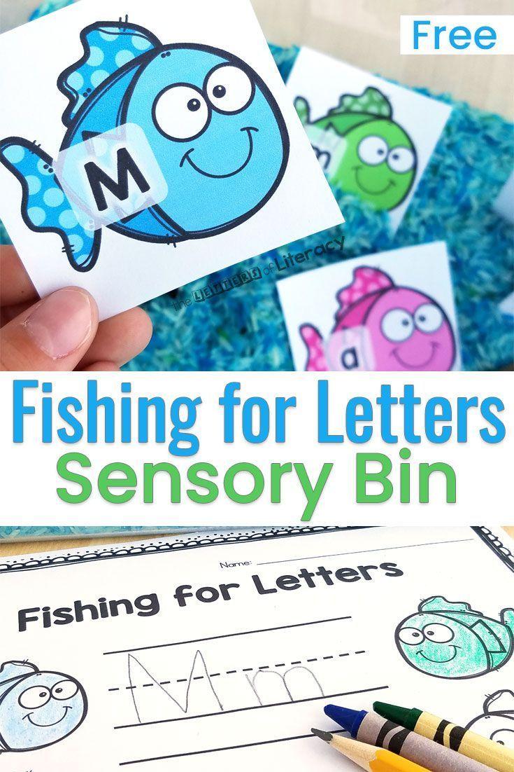 Fishing for Letters Alphabet Sensory Bin Activities | Ocean themes ...