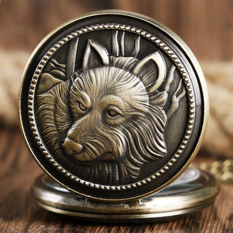 e12bca7ac7f Bronzový starožitný vlk Design Quartz kapesní hodinky Pánský bronzový  přívěsek s náhrdelníkem Relogio De Bolso