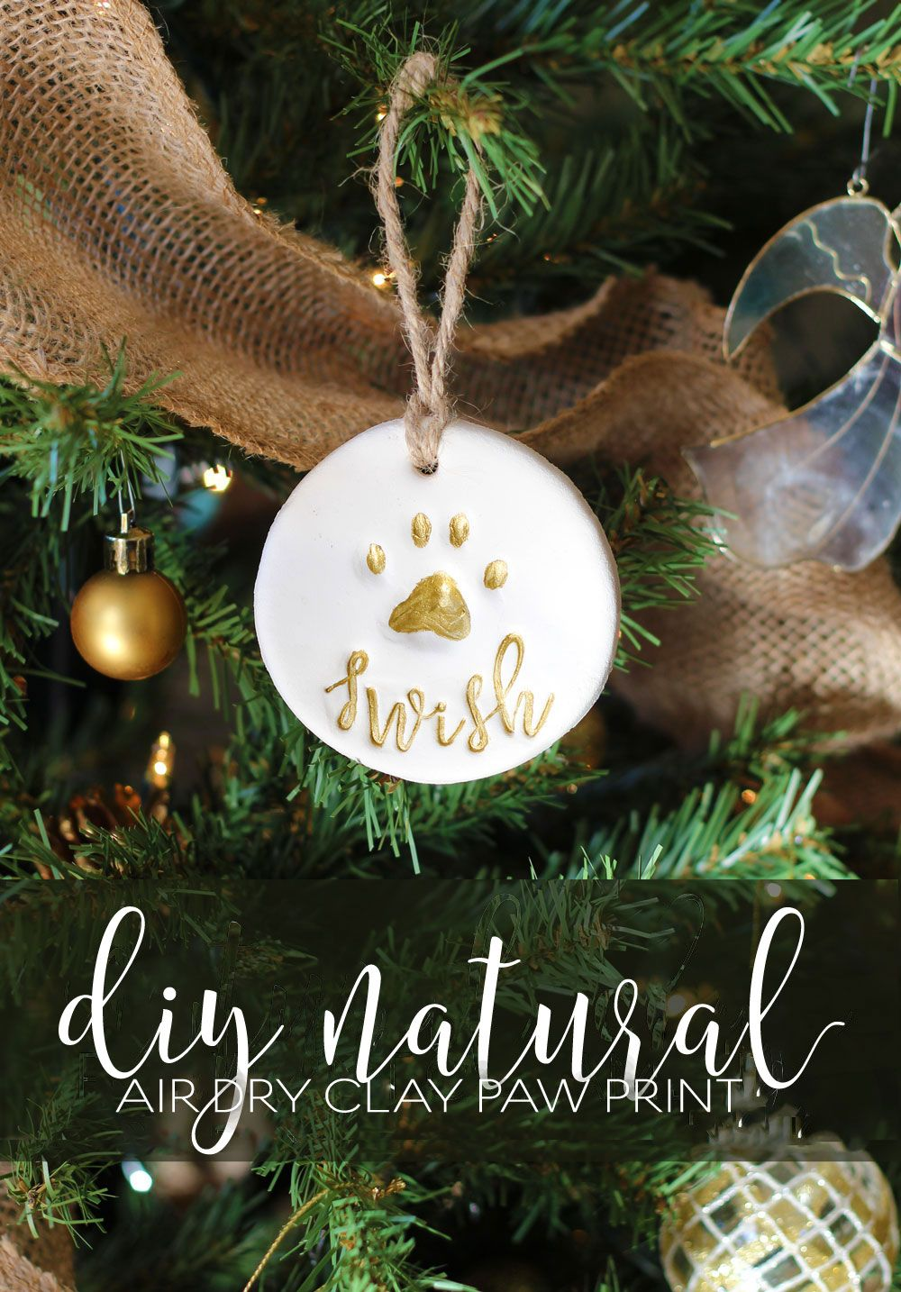 Pet Gift Basket With Personalized All Natural Diy Air Dry Clay Paw Print Ornament Paw Print Ornament Paw Print Crafts Pet Gift Basket
