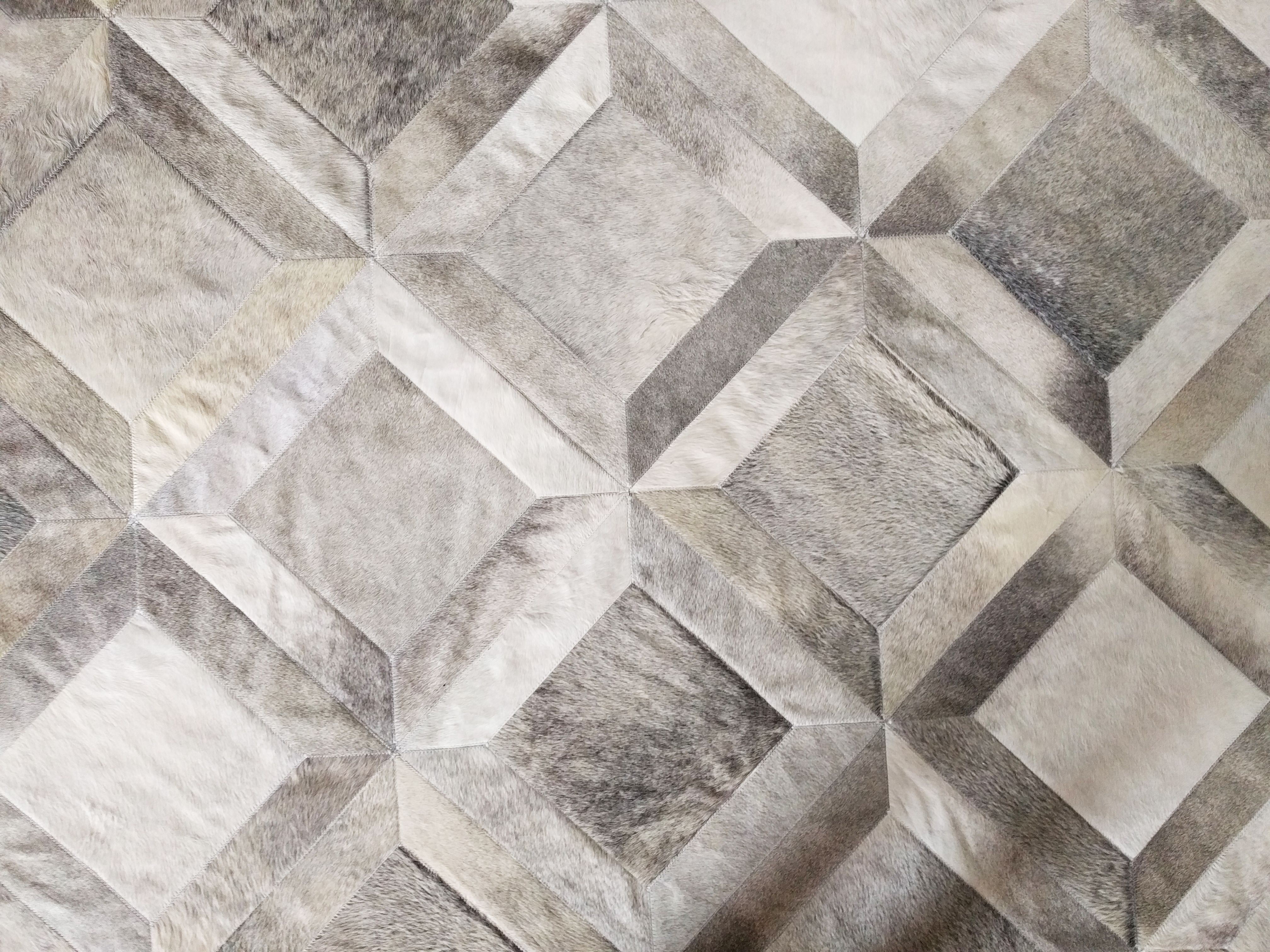Gray Leather Area Rug Cube Design No 281 Shinerugs Our