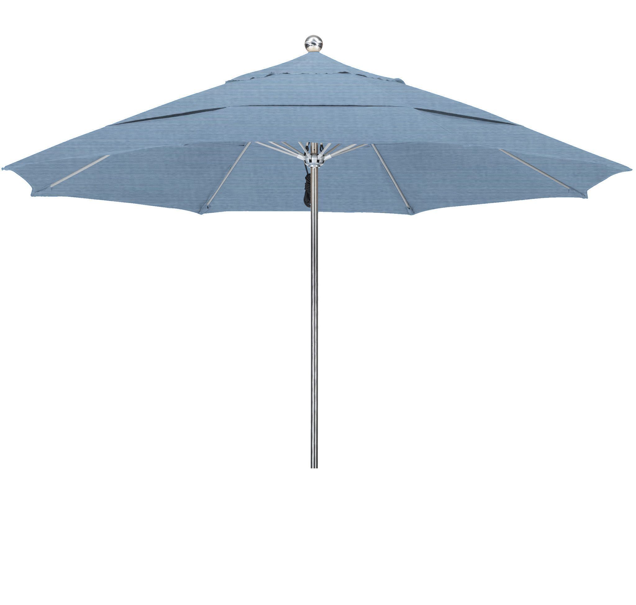Eclipse Collection 11'SSteel SinglePole FGlass Ribs M Umbrella DV Anodized/Sunbrella/Air Blue