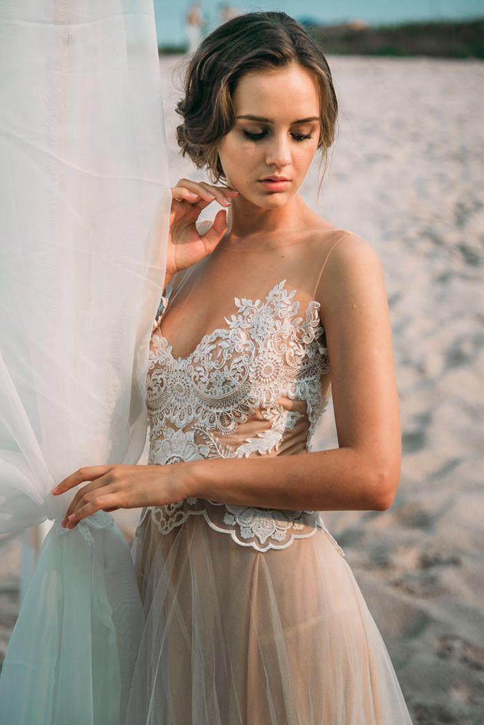Beige wedding dress with sheer neckline for beach wedding | fabmood.com #wedding #weddingcolor #beachwedding #weddingdress #beigewedding