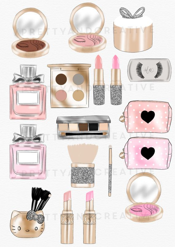 Photo of Makeup Addict, Make up Clipart Set, Blush, Lipstick, Perfume, Eyeshadow, Girl Clipart, Fashion Clipart, Beauty Clipart,