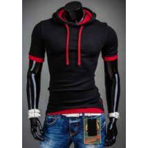 0564126ea1 Rövid ujjú, kapucnis férfi póló #B08 - fekete | Póló | Jackets ...