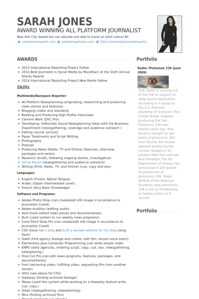 Journalism | 3-Resume Templates | Resume examples, Resume, Sample resume