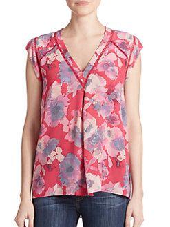 Rebecca Taylor - Floral-Print Silk Blouse - saksfifthavenue.com