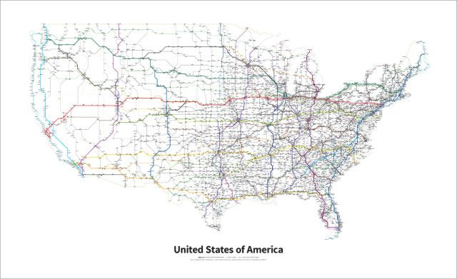 A Simplified Map Of Every Interstate And U S Highway In The United
