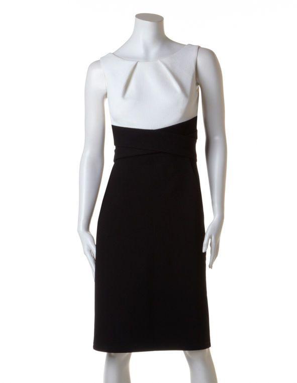 Black Fooler Shift Dress, Black/White