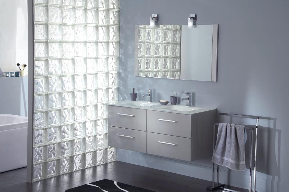 bain pave de verre cloison douche