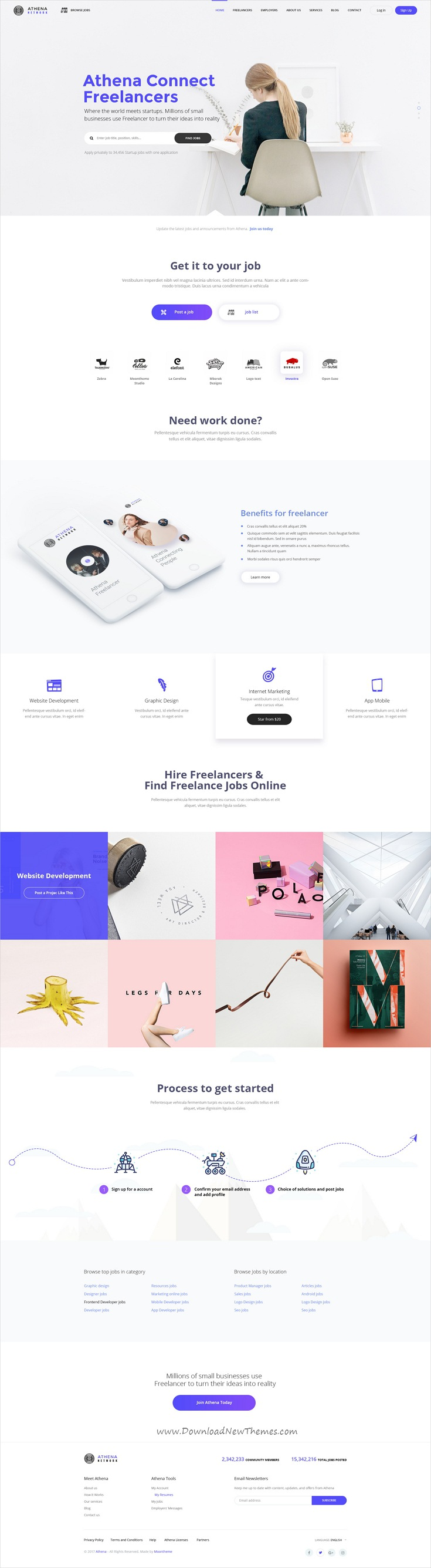 ATHENA Freelancer and Employers Jobs Search Template