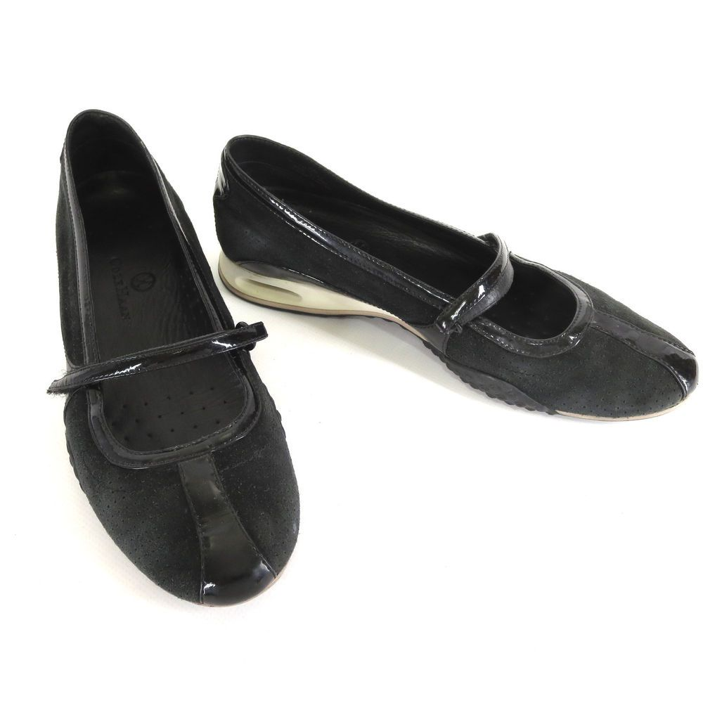 Cole Haan Shoes 8 Nike Air Bria Black Suede Patent Mary Jane Ballet Flats  D16140