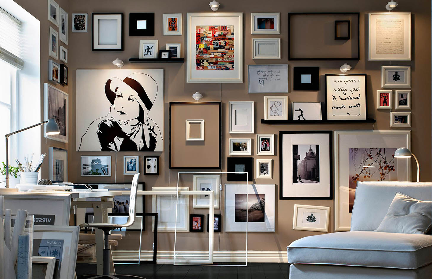 Fancy lots of picture frames on a wall sketch picture for Lots of pictures on wall