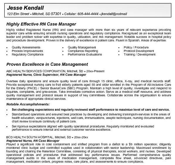 Clinical Nurse Supervisor Resume Sample: Rn Case Manager Resume