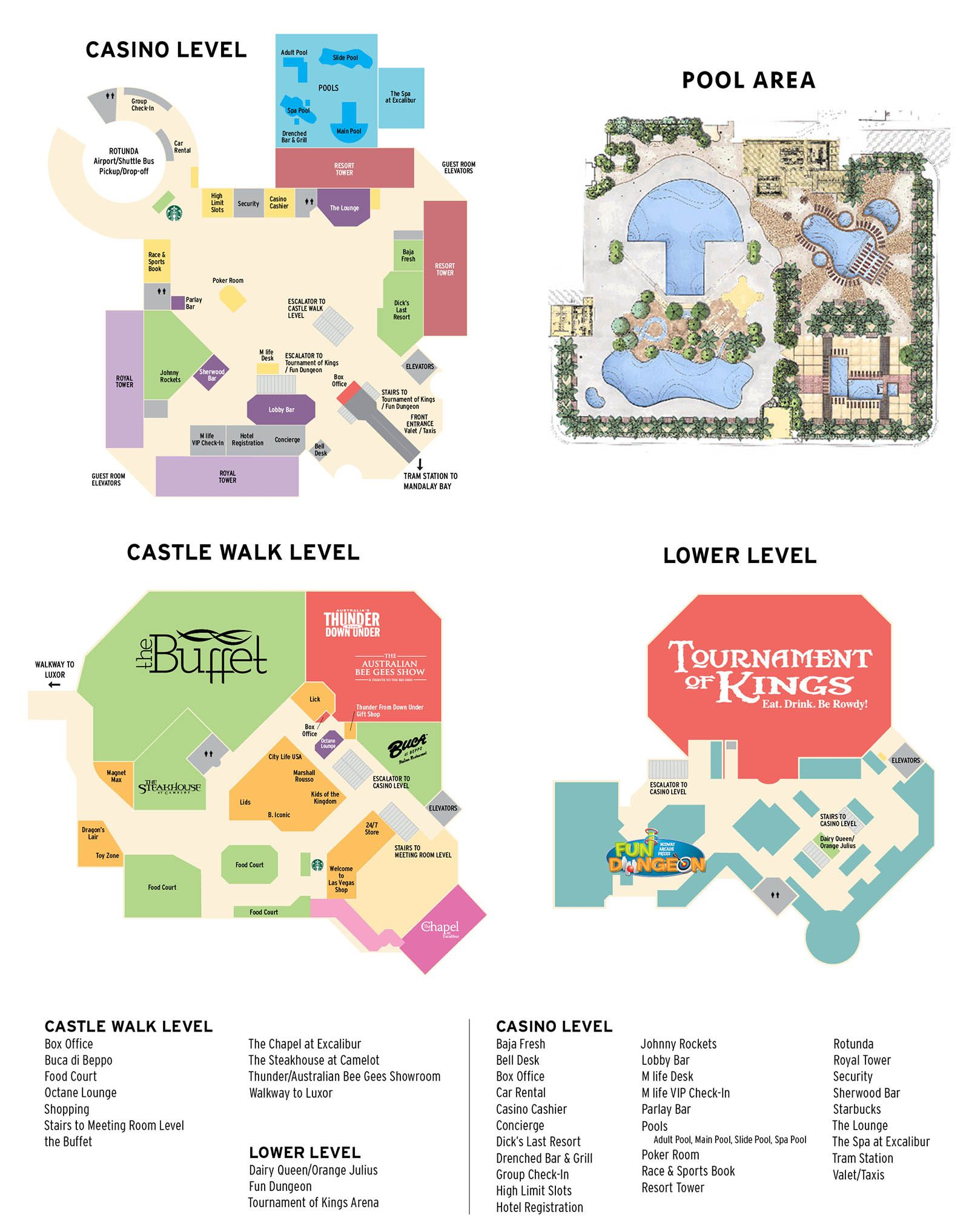 Excalibur Casino Property Map Amp Floor Plans Las Vegas With