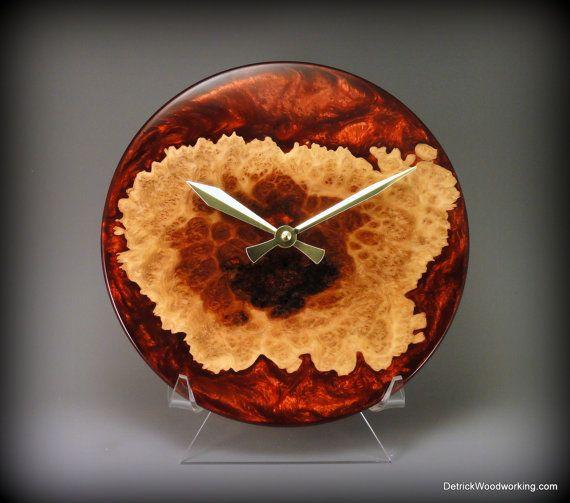 Unique Wood And Resin Clock Wooden Clock Rustic Wall