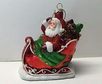 Santa Claus Sleigh Christmas Tree Glass Ornament Adler Holiday Hanging Glitter