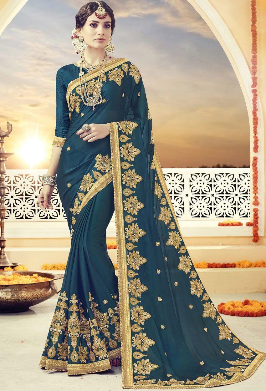 ed953f8f7c654f Deep Blue Georgette Designer Saree  Designer  Saree  nikvik  usa  designer   australia  canada  freeshipping  sari