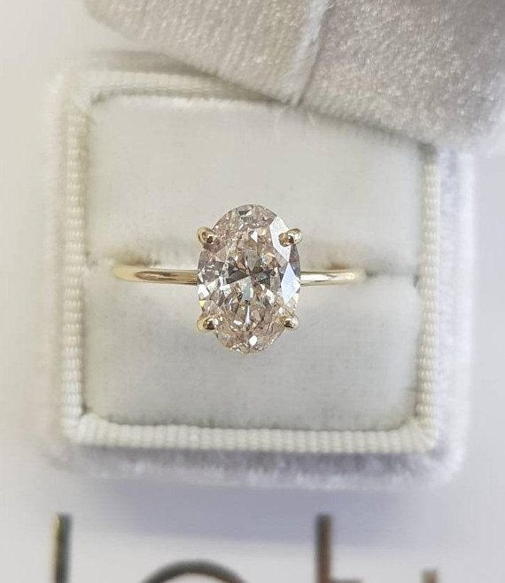 1 Carat Oval Diamond Engagement Ring Hidden Halo 14k Yellow Gold