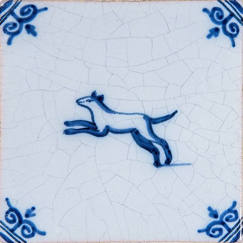 Country Floors Of America Llc: Small Animals Blue Glazed Ceramic Tiles 4x4