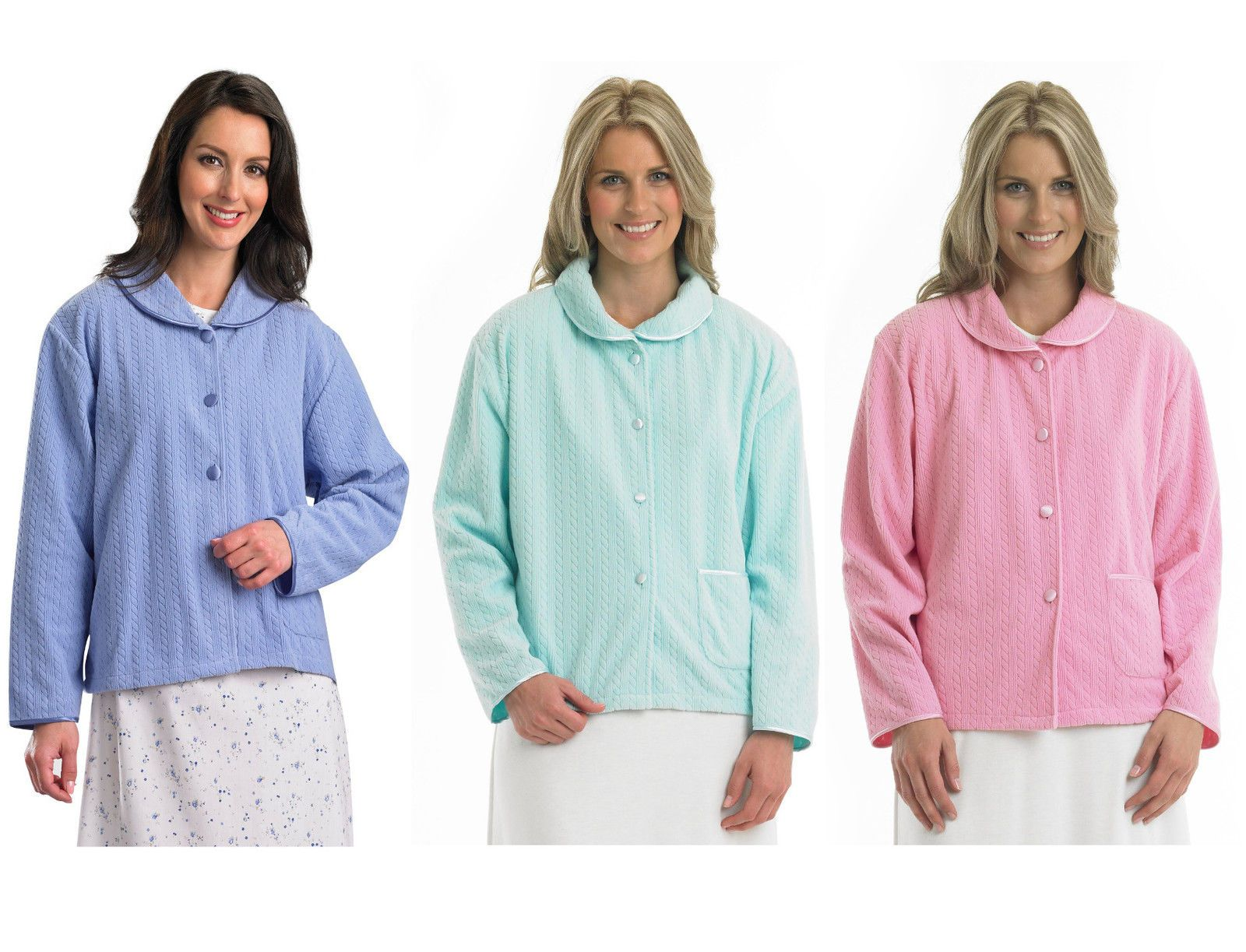 Slenderella Ladies Soft Fleece Button Up Bed Jacket Cable Style Housecoat  Pocket 0f8e8ef16