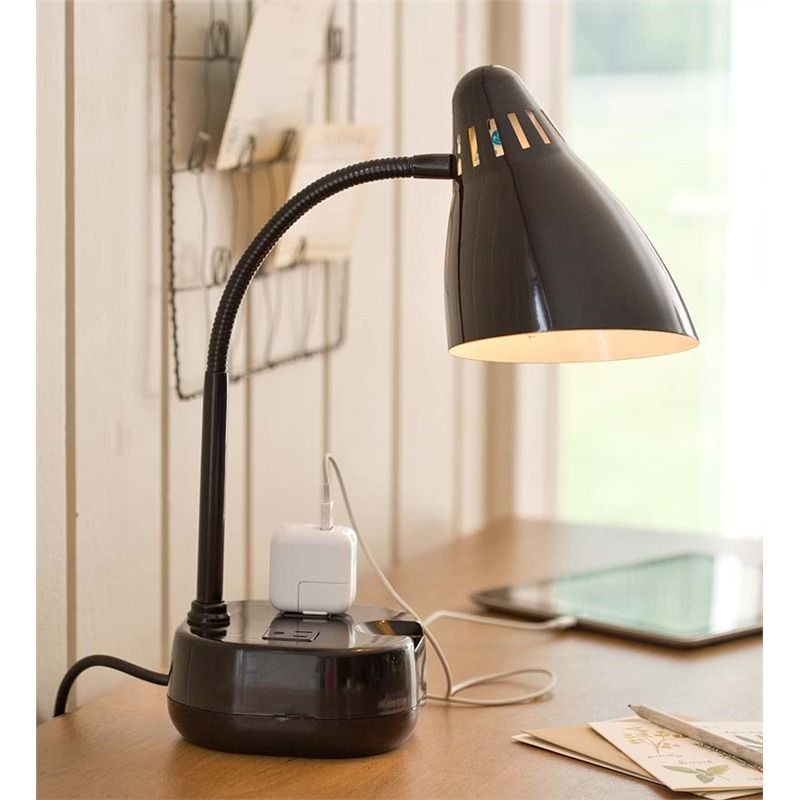 Table Desk Lamp With Two Outlets Lamps Lighting Desk Lamp