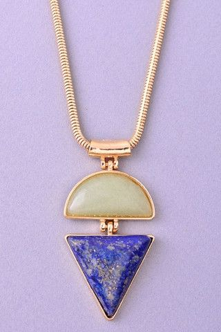 Ultra Long Stone Duo Pendant Necklace - Gold/Green/Blue – H.C.B.