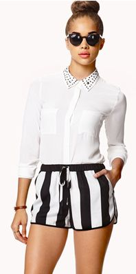 Striped shorts with studded collar blouse