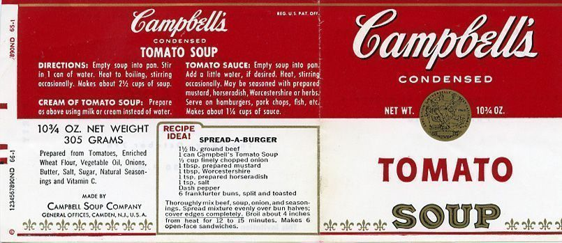 Campbell\u0027s Tomato Soup Label Iconic Icons Doll food, Mini doll