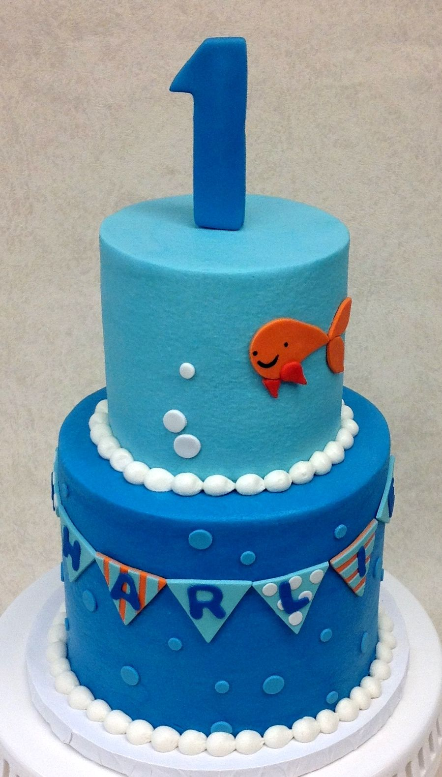 Charlie Goldfish 1st Birthday Cake Boy Birthday Pinterest