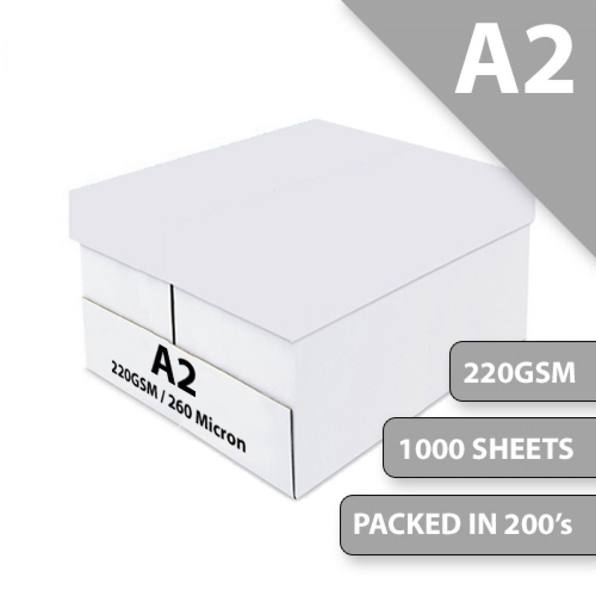 A2 White Card 220GSM Box Pack Size : 1000 Sheets   Office