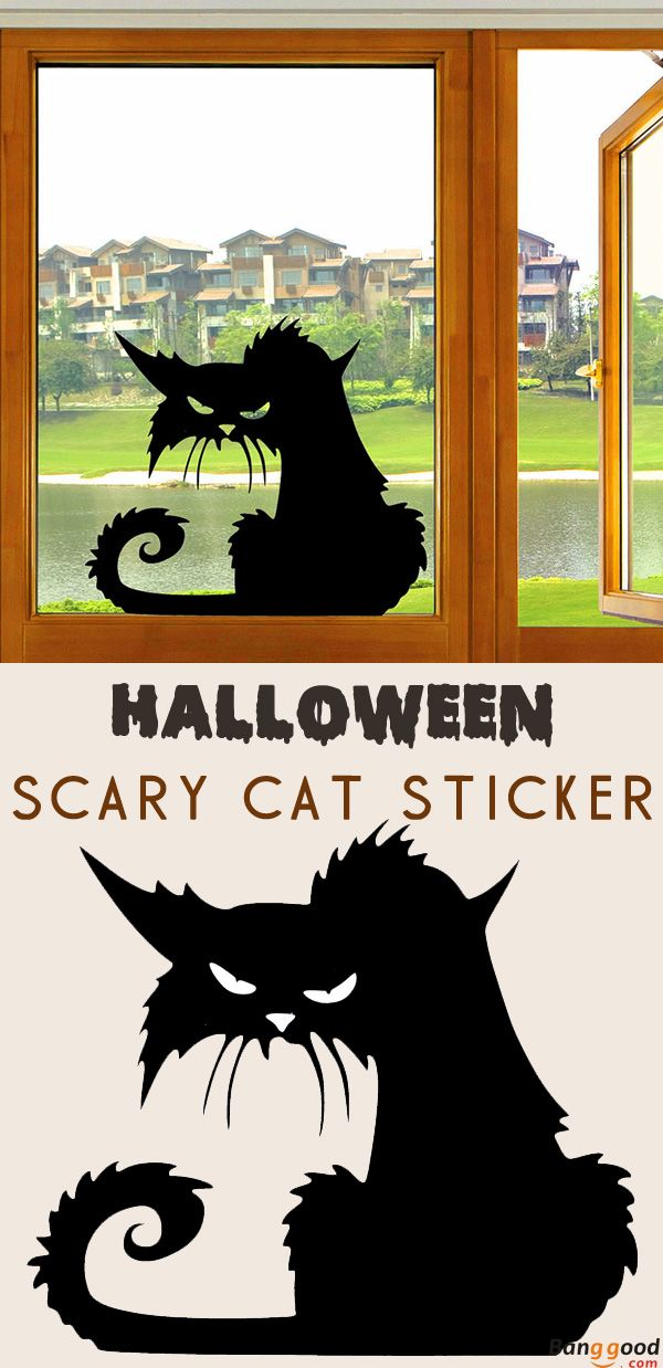 Us 1 99 67 Halloween Scary Black Cat Glass Sticker Halloween Decor Festival Gifts Party Supplies From Home And Garden On Banggood Com Scary Halloween Halloween Diy Halloween Haunt
