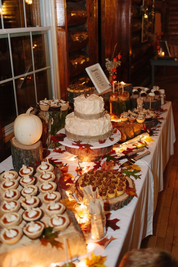 Fall wedding dessert table. rustic wedding cake