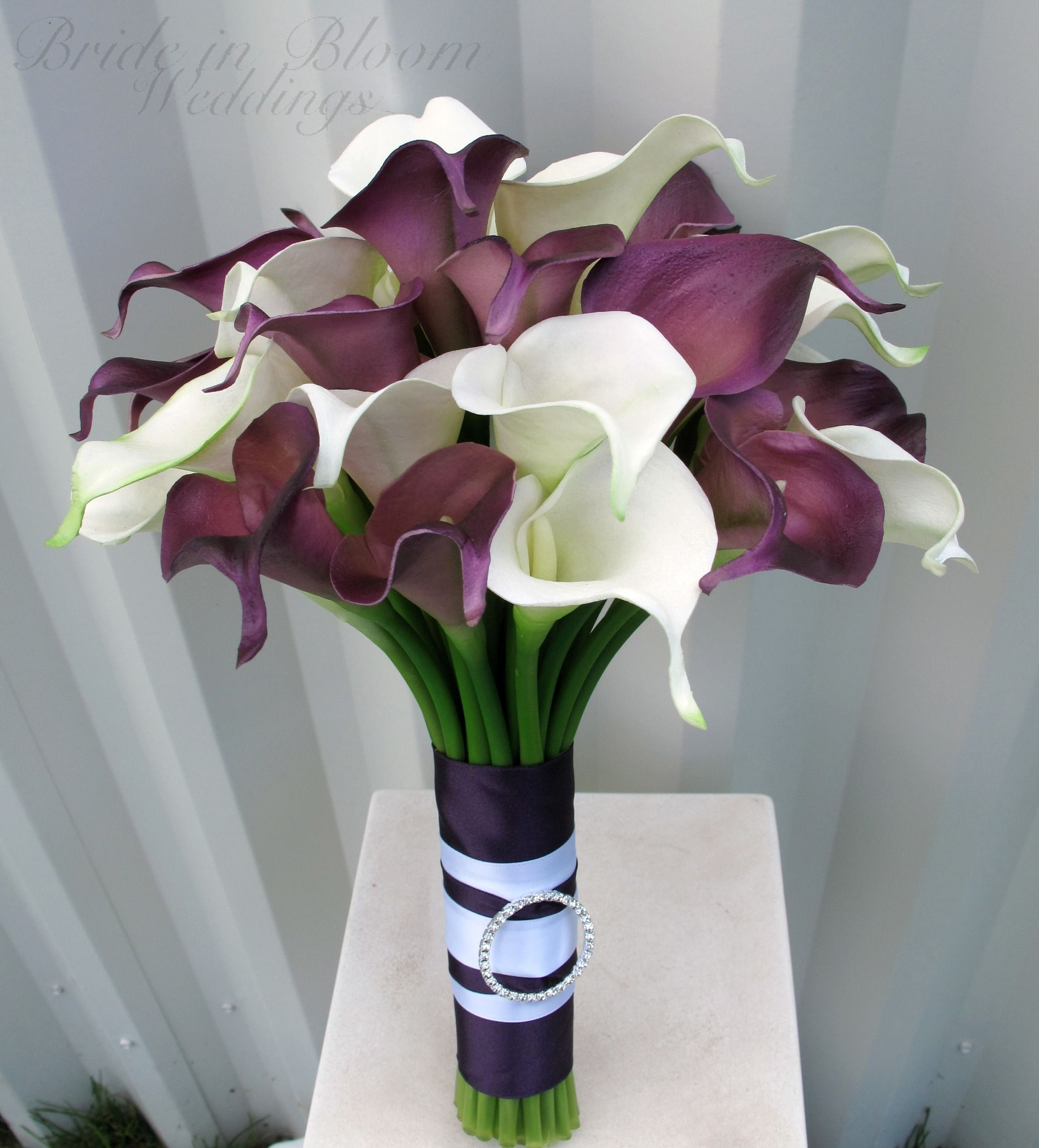 White lilies with plum inside calla lily wedding bouquet plum this purple plum white calla lily wedding bouquet is made from our real touch flower collection dhlflorist Choice Image